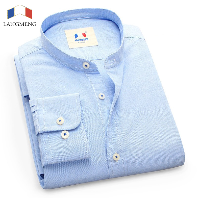 LANGMENG New 100% Cotton Oxford Dress Shirt Men Casual Shirt Brand Mens Clothing Classic Mandarin Collar Camisas Masculina