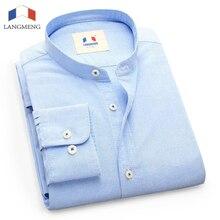 LANGMENG New 100% Cotton Oxford Dress Shirt Men Casual Shirt Brand Mens Clothing Classic Mandarin Collar Camisas Masculina