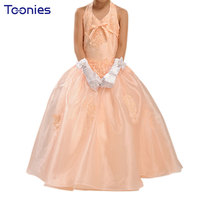 Big Girls Cute Floral Ball Gown Appliques Evening Formal Prom Dresses Unlimited Season Champagne Bridesmaid Children