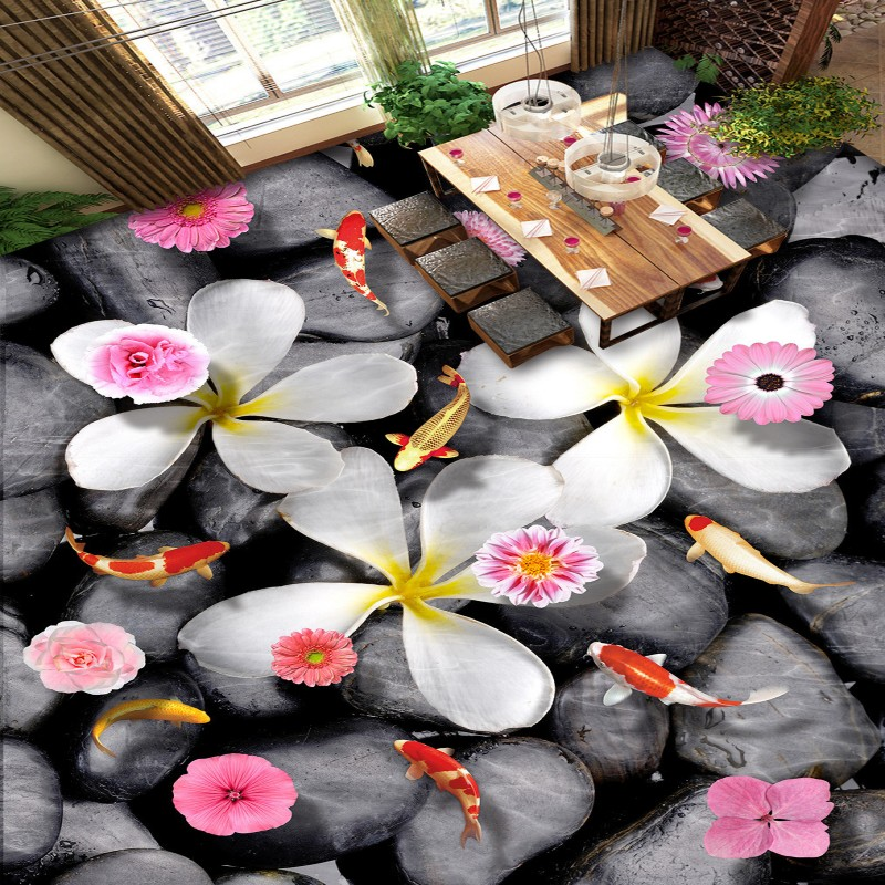 Free shipping 3d floor Chinese nine fish figure carp floor home decoration self-adhesive mural baby room mural wallpaper