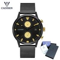 CADISEN Watch Men Fashion Quartz Clock Men Watches Top Brand Luxury Full Steel Army Military Sport
