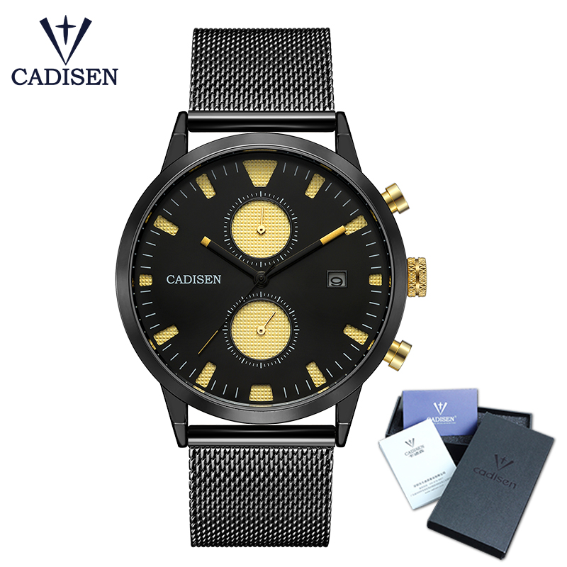 CADISEN Watch Men Fashion Quartz Clock Men Watches Top Brand Luxury Full Steel Army Military Sport Wrist Watch Relogio Masculino штатив monopod z07 5 bluetooth black for selfie