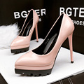 Otoño Nuevo de Las Mujeres Bombas de la Plataforma de Charol Sexy Tacones Altos Zapatos Femeninos En Punta OL Señaló Zapatos de tacón alto G712-2