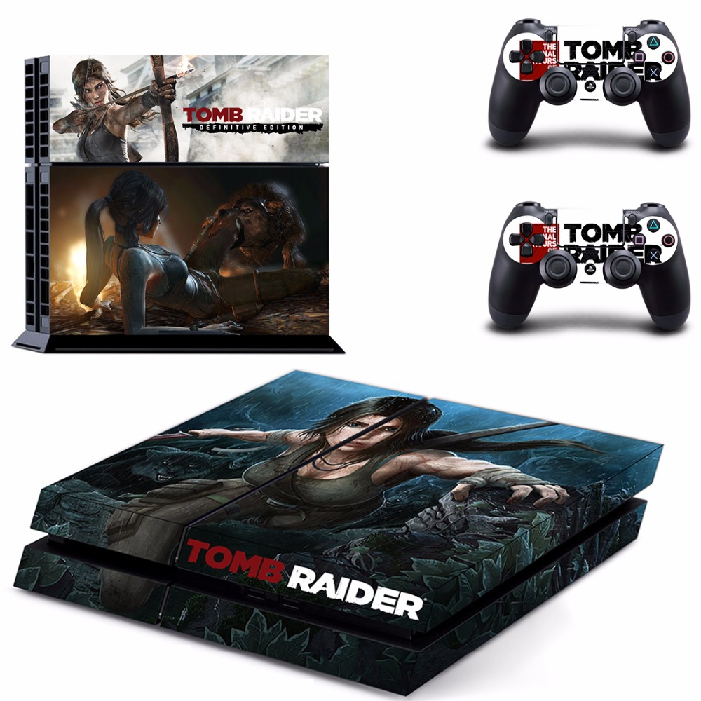 Game Tomb Raider PS4 Skin Sticker Decal For Sony PlayStation 4 Console and 2 Controllers PS4 Skins Sticker Vinyl