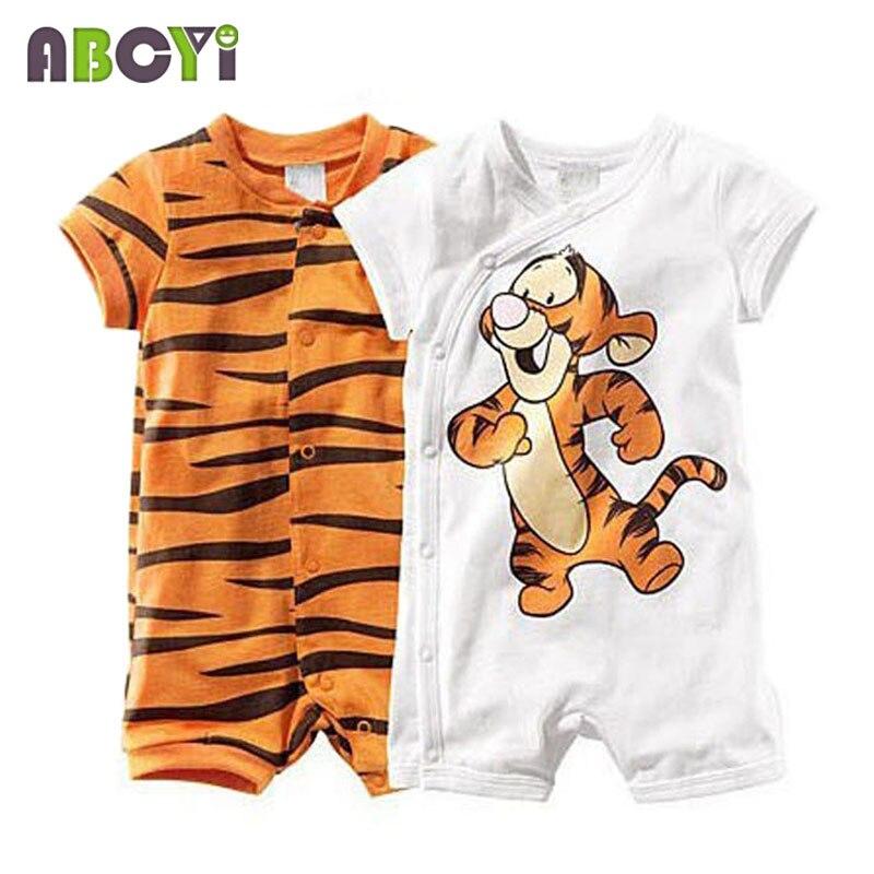 3567b1cbceca Baby Rompers Short Sleeve Cartoon Tiger Infant Boys Girls Wear ...
