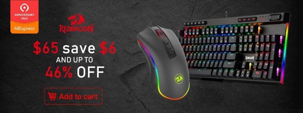 Redragon K556 RGB LED Backlit PRO Mechanical Gaming Keyboard+8PCS Free Switches