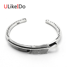 Pure 925 Sterling Silver Bangle Feather Fashion Vintage Hand Chain For Men And Women Opening Jewelry Thai Silver Charm 476