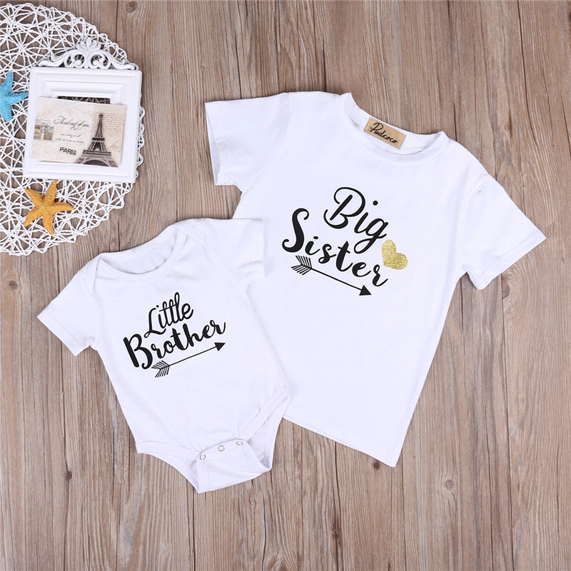 Summer Big Sister Little Brother Family Matching Toddler Kids Baby Boys Little Brother Romper Girls Big Sister Tshirt(China)