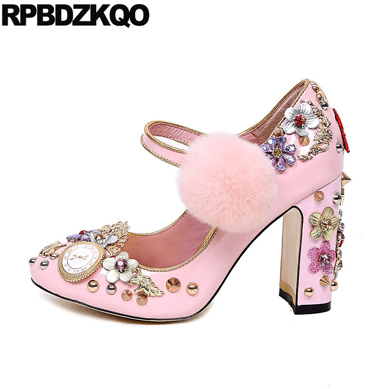 Ladies Rhinestone Flower Pink Wedding Shoes Catwalk Round Toe Ankle Strap Rivet Vintage Pearl Metal Fur Crystal High Heels Stud стоимость