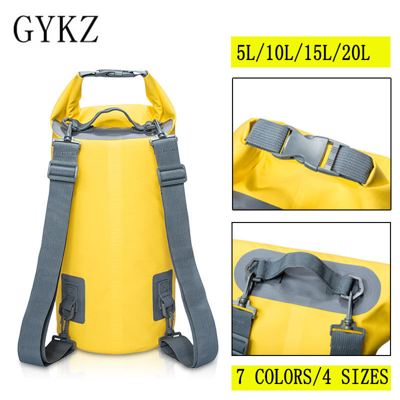 GYKZ 20L Folding Waterproof Bag Swimming Backpack Dry Storage Bag For Kayak Rafting Women and Men Travel Kit bolsa estanca HY019