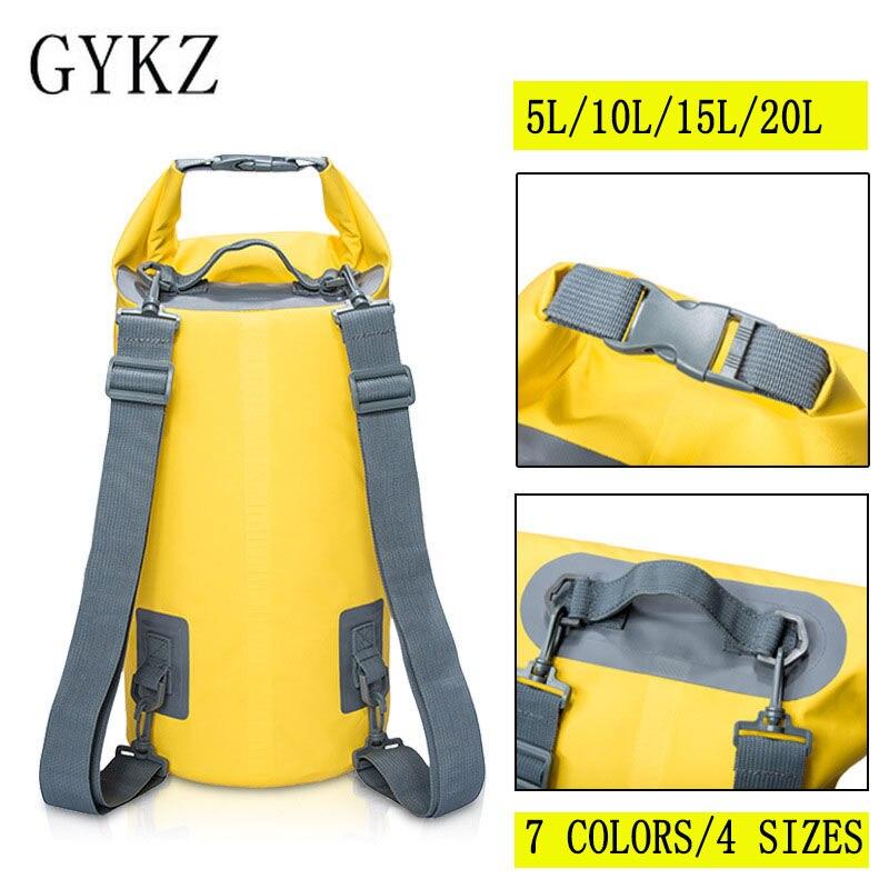 GYKZ 20L Folding Waterproof Bag Swimming Backpack Dry Storage Bag For Kayak Rafting Women and Men Travel Kit bolsa estanca HY019