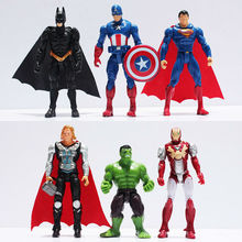 6pcs/set Marvel The Avengers action figures Captain America/Batman/Thor/Iron Man/Hulk/Superman Super Hero Kids Toy Doll