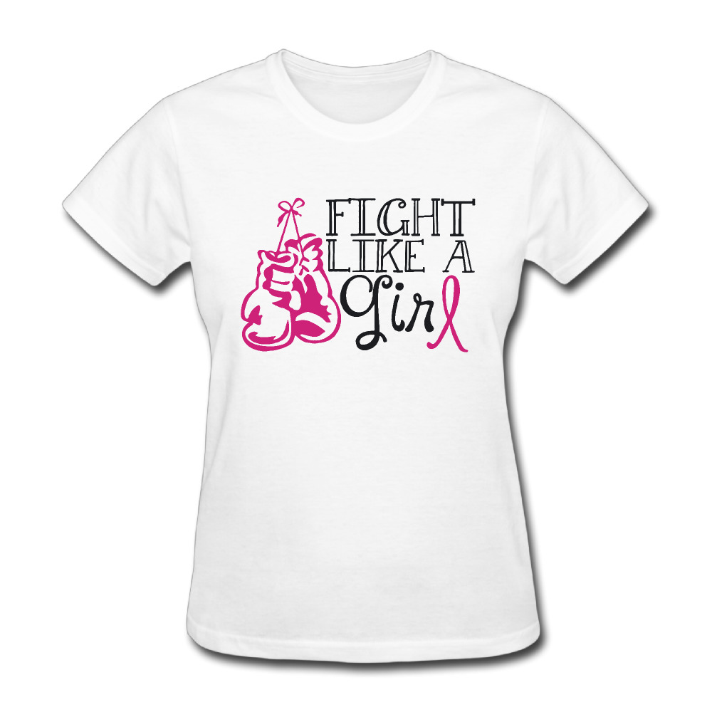 Women Fight Like a Girl with B O X I N G <font><b>gloves</b></font> Cool short sleeve T-shirt cotton White