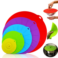 5pcs Universal Silicone Suction Lid-bowl Pan Cooking Pot Lid-silicon Stretch Silicone Cover Kitchen Pan Spill Lid Stopper Cover