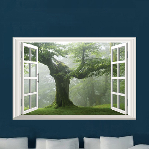 Old Forest Tree 3D Window View Green Living Room Wall Sticker Home DIY Decal