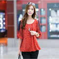 Hot Sale Arrivals  Dot Print Chiffon Plus Size Casual Shirts Women Clothing Spring Summer Fashion Tops   A875