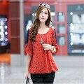 Venta caliente Llegadas Punto de Impresión de la Gasa Más El Tamaño de Las Camisas Sport Ropa de Mujer Moda Primavera Verano Tops A875