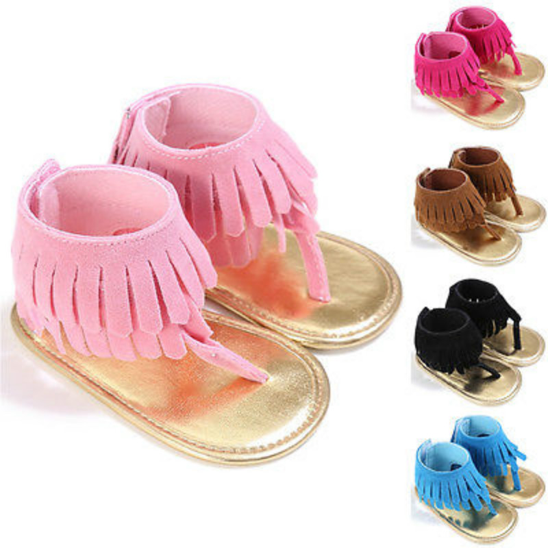 Cute Infant Girls Kids Summer Sandals Toddler Baby Princess Soft Sole Shoes Fringe Moccasins Tassels Scandals Clogs 5Colors 0-2Y