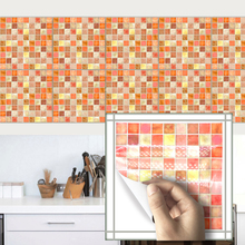 2017new Orange Mosaic Retro Tile Tiles Stickers Kitchen Bathroom Toilet Waterproof Adhesive Pvc Wallpaper Wall Stickers