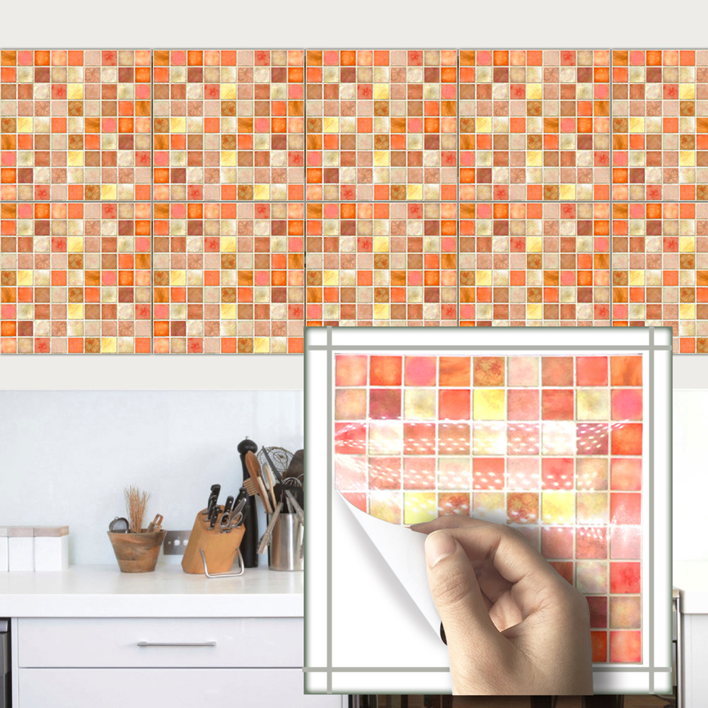 Wall stickers orange mosaic retro tile tiles stickers for Carrelage pvc mural
