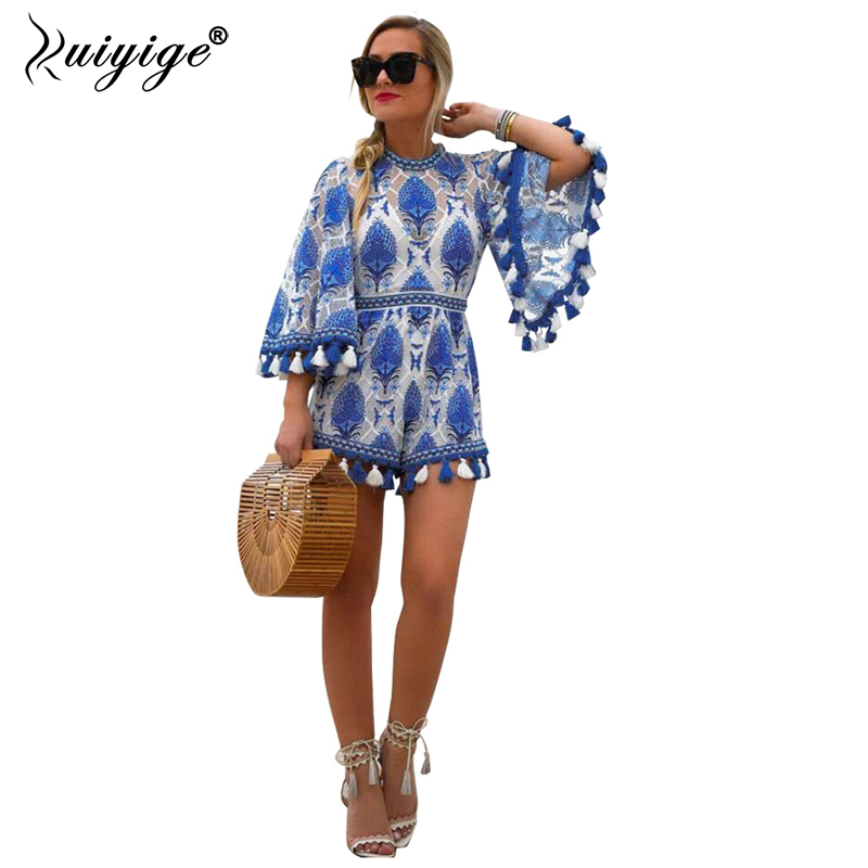 Ruiyige 2018 New Boho Sexy Beach Tassel Blue Jumpsuit Lace Short Women Print Bodysuit Tunic Femme Ladies Open Back Playsuits