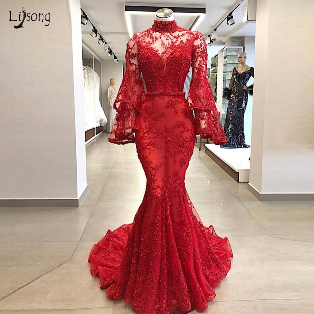 Luxury Dubai Red Lace Pearls Mermaid   Prom     Dresses   2019 With Puff Full Sleeves High Colar Long   Prom   Gowns Robe De Soiree Longue