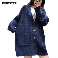 Для женщин s синий кардиган Демисезонный свитер кардиган осень зима длинный кардиган свитер Для женщин трикотажные
