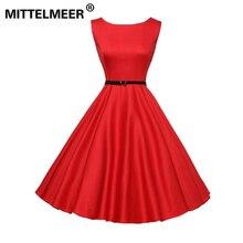 MITTELMEER насыщенный Красный Черный Цвет Винтаж летнее платье для женщин и девочек ретро рукавов элегантные вечерние красные платья vestidos verano
