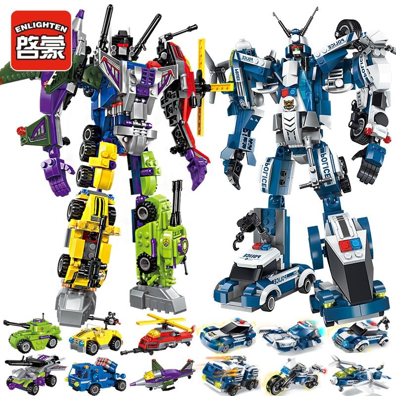 ENLIGHTEN 5 Styles Transformered Blocks Bricks Compatible Deformation Robot Children Boy Toys Christmas Birthday Gifts лего трансформер самолет