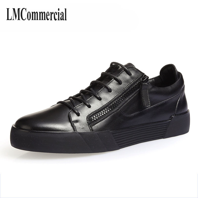 shoes men The fall of new pro Korean tide casual leather shoes men boots breathable zipper black low shoes the fall of new men s casual shoes leather trend of korean youth all match low men shoes
