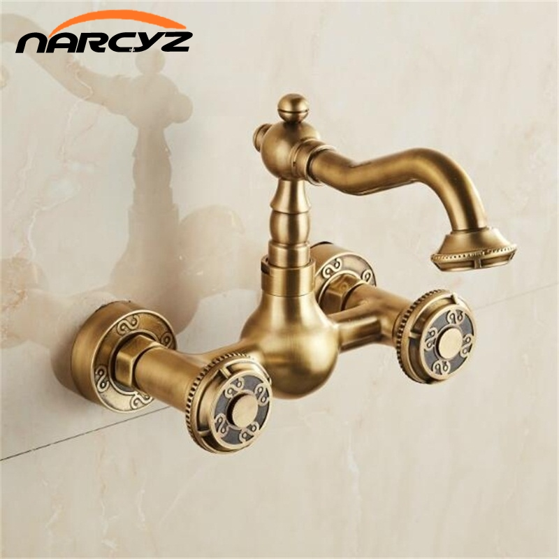 Basin Faucets Antique Black Brass Wall Mounted Kitchen Bathroom Sink Faucet Dual Handle Swivel Spout Hot