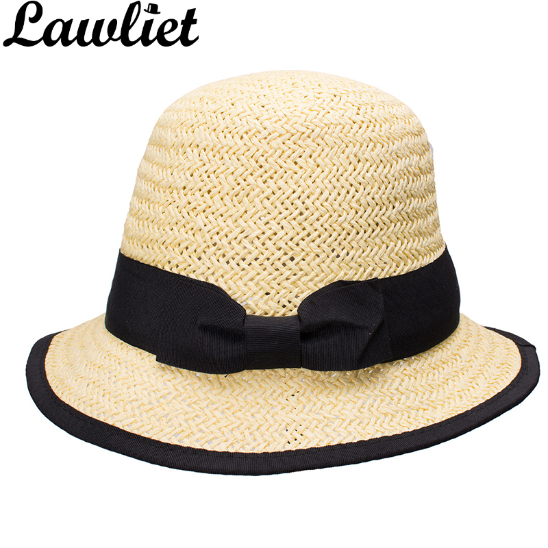 397b0d59099 Women Sun Hats Paper Straw Boater Hat Cloche Bucket Sun Cap Black Grosgrain  Ribbon Bow Spring Summer Kentucky Derby Hats