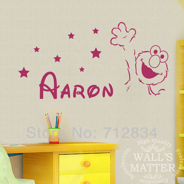 B Z D Free Shipping Diy Lovely Hello Elmo Personalized Name Art Decals Home Decor Vinyl