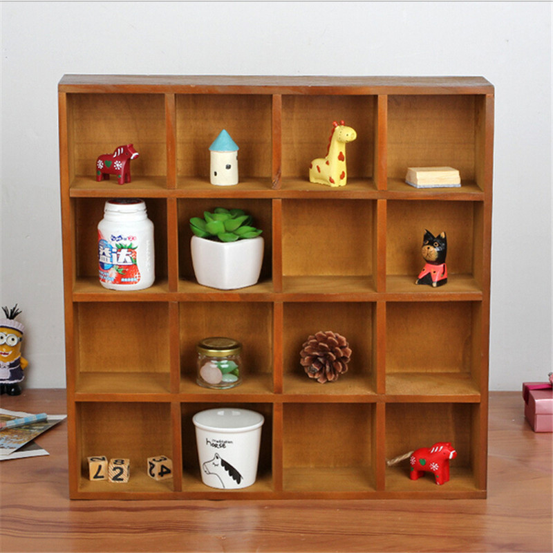 Basket Organizer Storage Box 16 Grids Wall Cabinet Wood Desktop Perfume Cosmetics wooden storage box ...