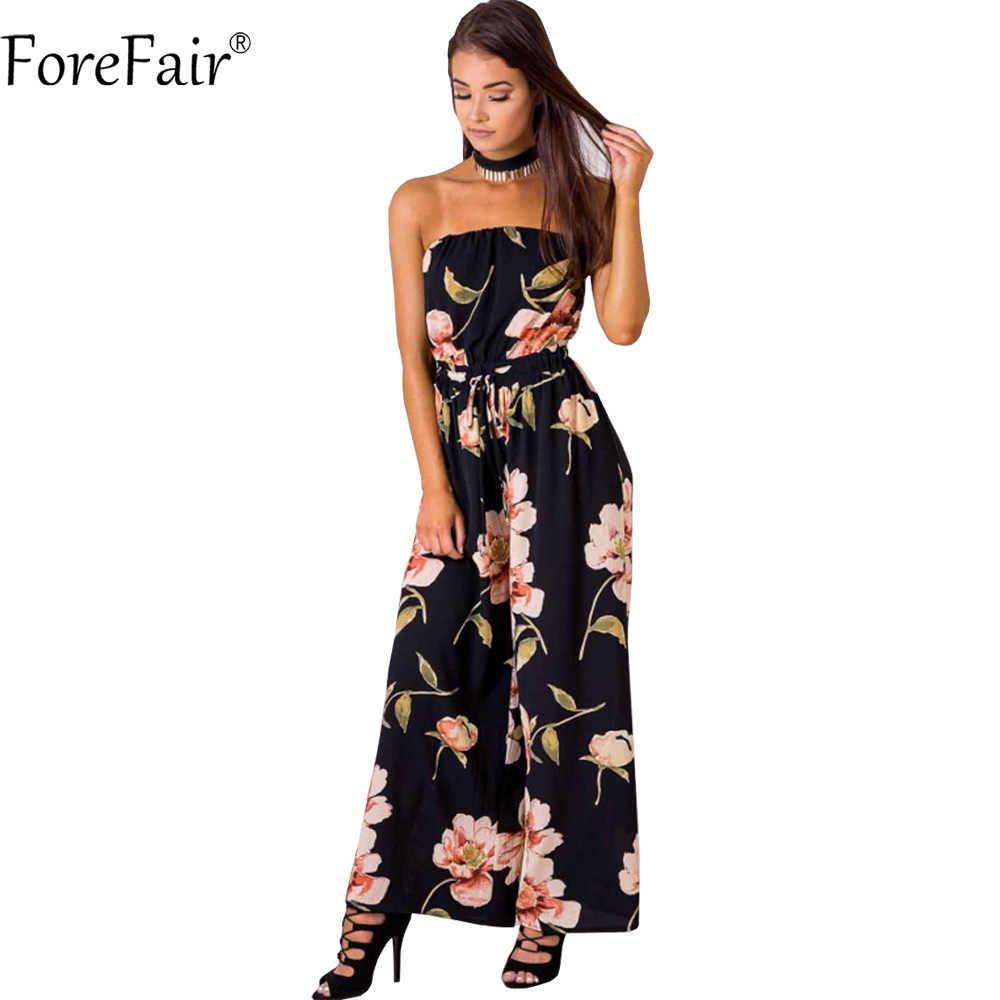 1bc79c649ec ForeFair Summer Strapless One-Piece Long Pants Floral Jumpsuits Plus Size  Chiffon Wide Leg Rompers