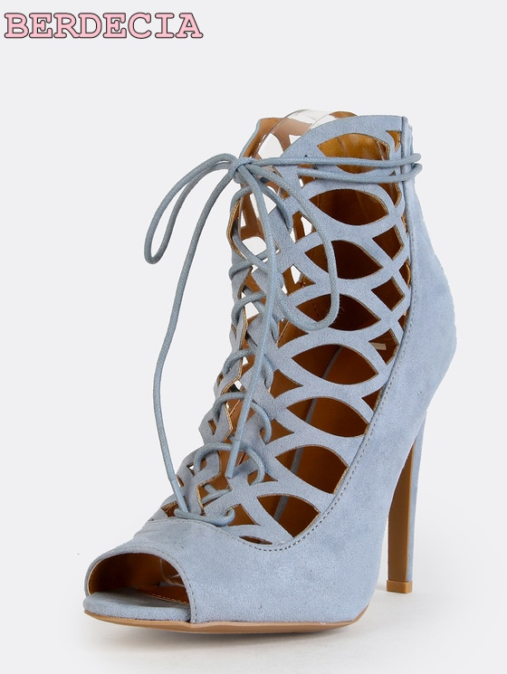 Hottest blue Suede Leather Gladiator Sandals Boots peep toe Cut-out ankle Sandal Boot stiletto heel Women shoes lace up boots dijigirls women pumps peep toe high heels gladiator sandals shoes woman party wedding flock leather stiletto lace up summer boot