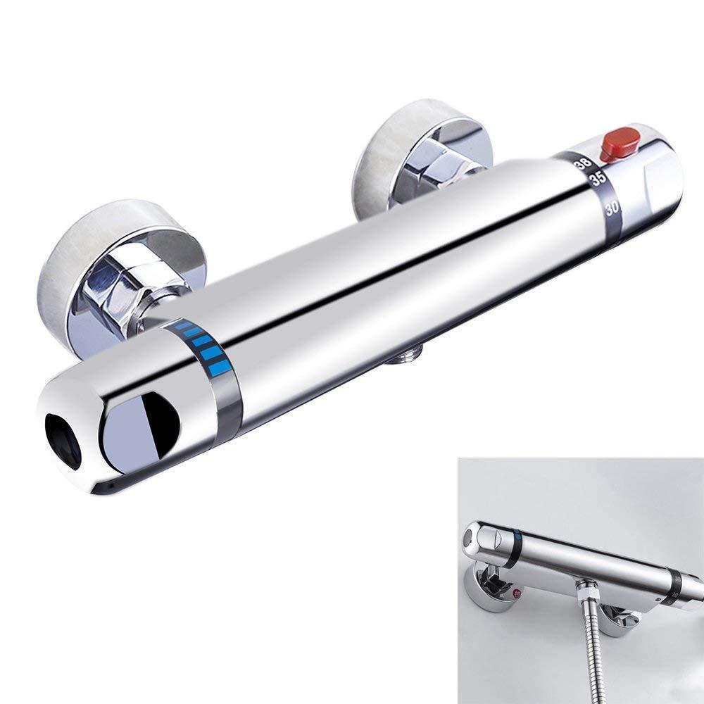 Chrome barra termostática chuveiro válvula misturadora anti escald torneira