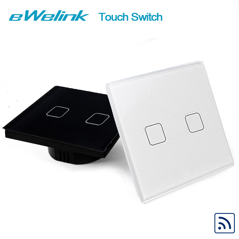 eWelink EU/UK 2 gang 1 way Wireless Remote Control Light Switches, RF433 Remote Control Touch Switch, Wall Switch For Smart Home smart home eu touch switch wireless remote control wall touch switch 3 gang 1 way white crystal glass panel waterproof power