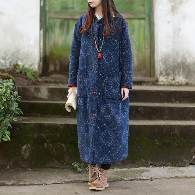 Vestido tradicional Chinês Étnico Mulheres Jaqueta de Inverno Para Baixo Casaco de Algodão de Linho Primavera Outono Longos Casacos Trench Coat Manteau Femme