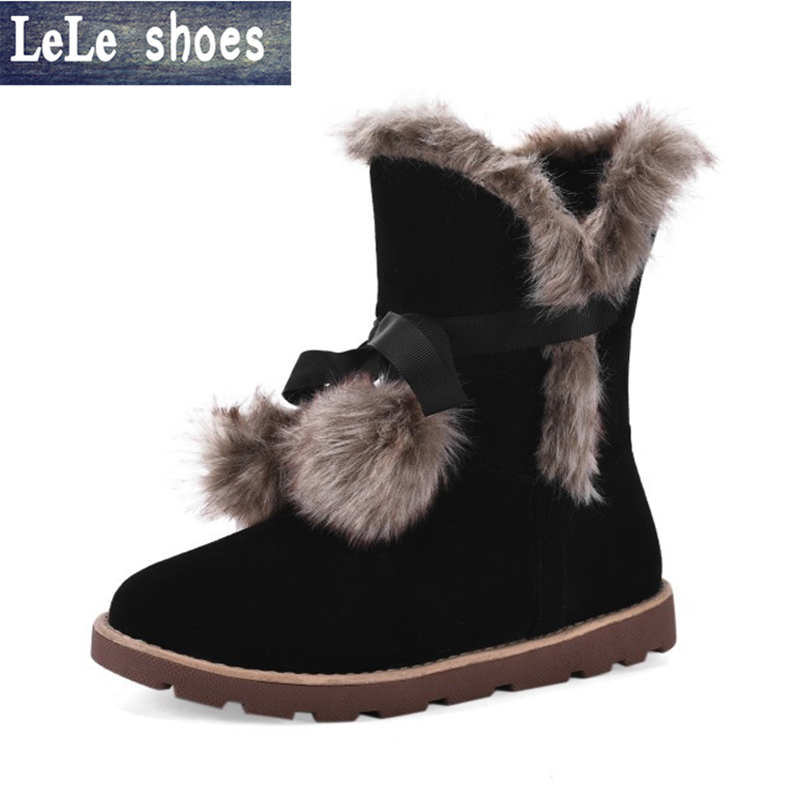 2016 New Arrival Winter Women Ankle Snow Boots Rabbit hair Plush Fur Warm Suede Leather Fashion Flats Shoes Big Size Zapatos