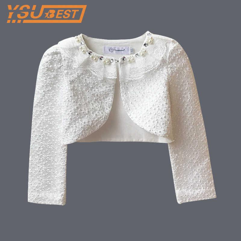 54bbd68f31d1f Baby Girls Lace Cardigan Girls Bolero Cardigan Long Sleeve Lace Jacket For  Wedding Dress Party White