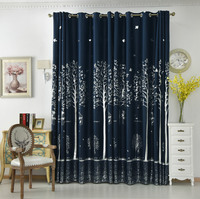 Korean Pastoral Printed Small Tree Linen Curtains for Bedroom Window Living Room Sheer Blackout Curtains Luxury Home Decor