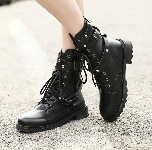 Image 2 - SWYIVY 2019 Motorcycle Boots Ladies Vintage Combat Autumn Boots Army Punk Goth women boots Women Biker PU Leather Short BootsMid-Calf Boots   -