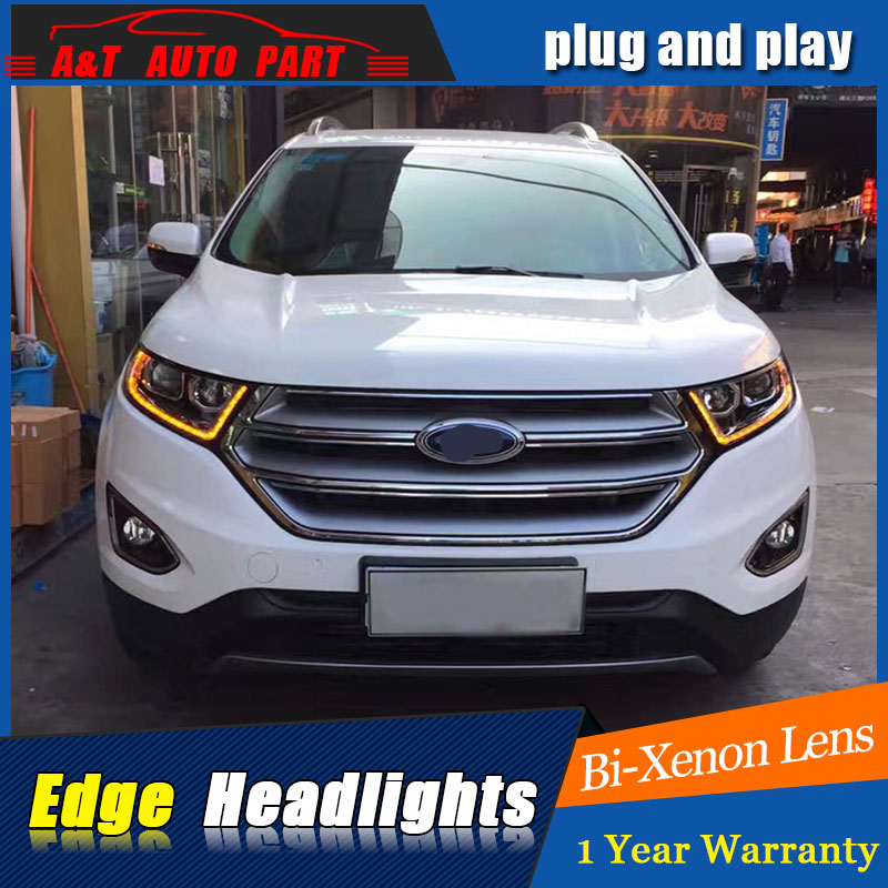 Auto Part Style LED Head Lamp for Ford edge led headlights 2015 FOR Ford edge drl H7 hid Bi-Xenon Lens low beam hireno headlamp for 2016 hyundai elantra headlight assembly led drl angel lens double beam hid xenon 2pcs