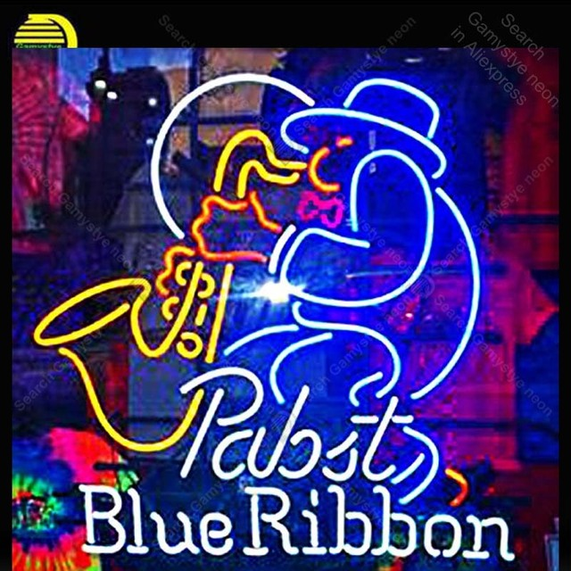 Pabst Blue Ribbon Beer Neon Signs Custom Light Sign Bar Club Real Gl Lamps Home Decor Handcraft