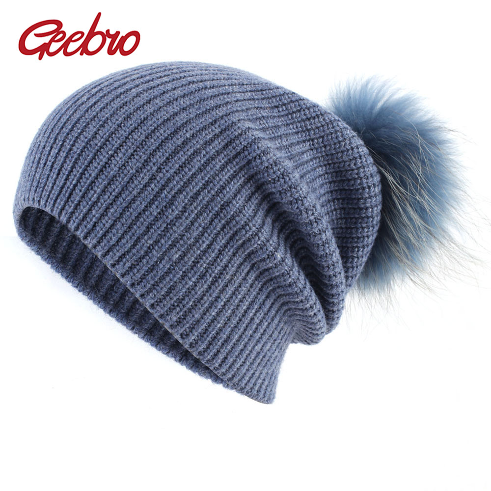 Geebro Women's Pompom Beanie Hat Winter Cashmere Knitted Slouchy Beanie With Real Pompom For Female Ladies Balavaca Skullies Hat