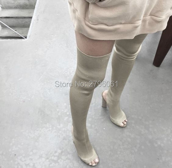 ФОТО 2017 New Arrival Kim Kardashian Stretch Knit Over The Knee Boots Open Toe Cut Out Thick Heel High Heel Long Boots Slip-on