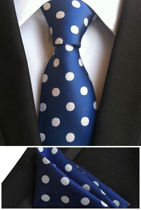2017 NEW Designer's Tie Set 8cm Formal Necktie Blue with White Big Dots Match Suits Woven Hanky