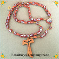 Freeship wholesale cheap oval wooden beads religious rosary with 2 sides epoxy icons, catholic rosary necklace with wooden cross