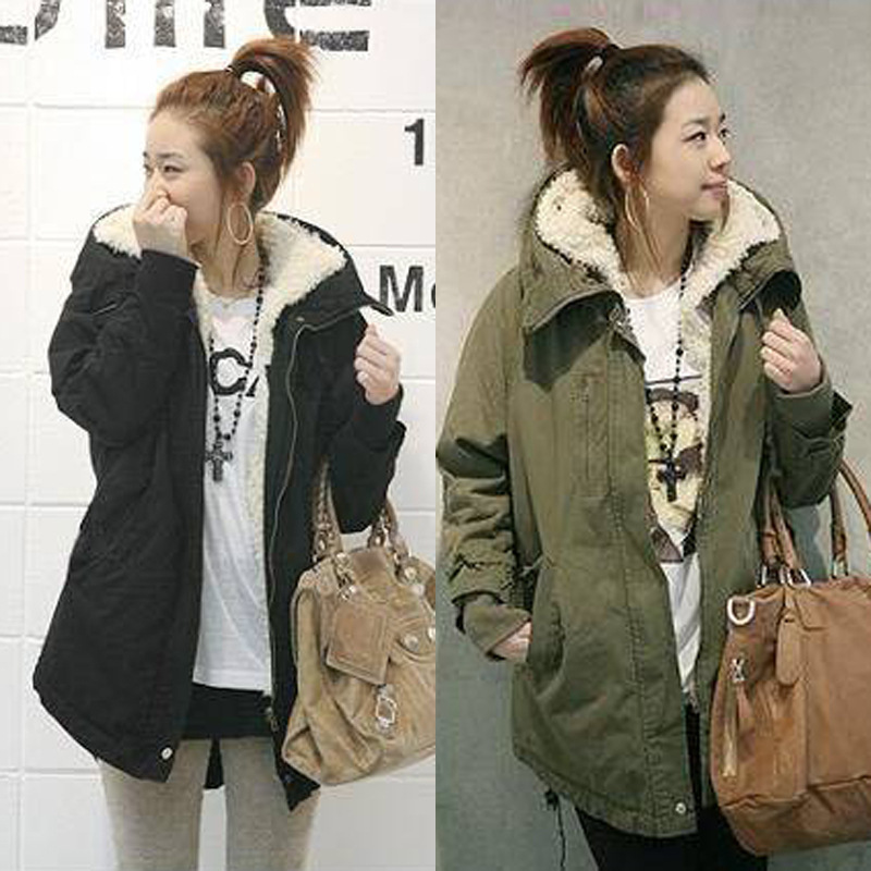 Winter Jacket Women Parkas Army Green Wool Hooded Coats Thick Cotton Padded Lining Female Outwear jaqueta feminina inverno z30 qazxsw 2017 woman winter coats hooded jacket thick long parkas for girl outwear jacket woman cotton coats jaqueta feminina hb229